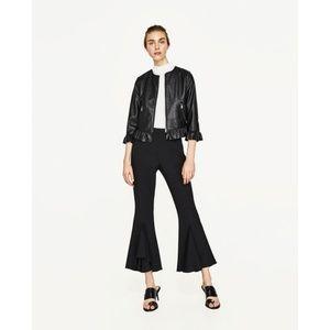 Zara Size XS Peplum Faux Leather Jacket